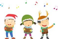 Happy kids singing Christmas Carols stock illustration
