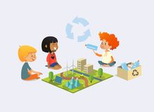 Happy kids sit on floor in circle around toy model with wind and solar power plants, redhead boy demonstrates plastic. Bottles and discuss recycling and Stock Image