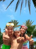 Happy kids in snorkel masks Royalty Free Stock Images