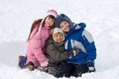 Happy Kids In Snow stock image