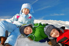 Happy Kids in the Snow Royalty Free Stock Images