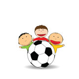 Happy kids and soccer Stock Image