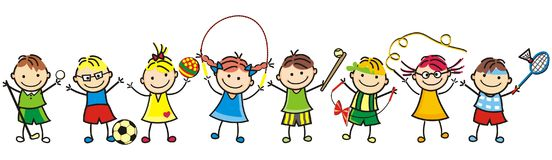Happy kids and sports supplies. Happy kids, group of girls and boys, leisure game, vector funny illustration Stock Image