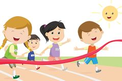 Happy kids sprinter coming first to finish line. Vector illustration of Happy kids sprinter coming first to finish line Royalty Free Stock Photo