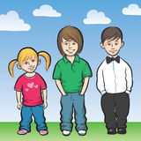 Happy kids standing. Vector illustration of happy kids standing. Easy-edit layered vector EPS10 file scalable to any size without quality loss Royalty Free Stock Image