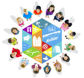 Happy Kids and Summer Holiday Concepts.  Royalty Free Stock Photography