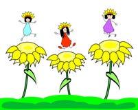 Happy kids on sunflower Stock Photography