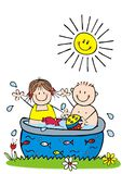 Happy kids in the swimming pool, hand drawing. Happy kids in the swimming pool, funny vector illustration, hand drawing. The girl and the boy play in the pool Royalty Free Stock Photography