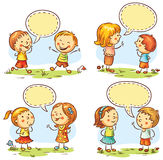 Happy kids talking and showing different emotions, set of four scenes with speech bubbles. Kids talking and showing different emotions, set of four scenes with Stock Image