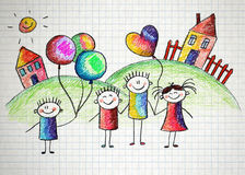 Happy kids with teacher. Stock Images