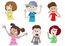 Happy kids or teens talking stock illustration