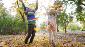 Happy kids throw yellow leaves into air at park, playing in backlight on background of trees. Happy kids throw yellow leaves into the air at park, playing in stock footage