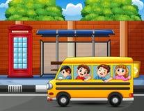 Happy kids to ride the school bus stock illustration