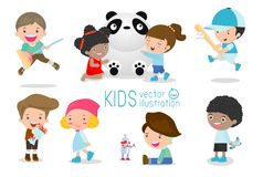 Happy kids with toys, children play with toys, cute kids playing with toys, child with toys,kids at playground on white background. Happy children playing Royalty Free Stock Images
