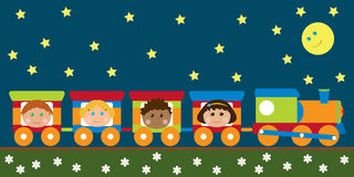 Happy kids in the train Stock Photography