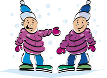 happy kids twins and snow Royalty Free Stock Image