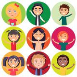 Kids of Various Ethnic Groups Isolated Vector. Happy kids of various ethnic groups isolated on colorful buttons in concept of universal childrens day Stock Image