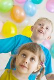 Happy kids are waiting for gifts Stock Image