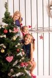 Happy kids waiting for Santa Claus Royalty Free Stock Image