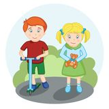 Happy kids for a walk stock illustration