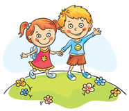 Happy kids walking outdoors. Happy cartoons kids walking outdoors royalty free illustration