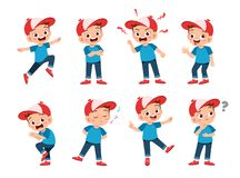 Free Happy Kids Wear Hat Expression Set Stock Images - 158023254