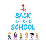 Happy kids on white background, back to school concept Stock Images
