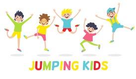 Happy kids on white background. Kids jumping with joy , happy jumping kids, happy cartoon kids playing, Kids playing on white background , Vector illustration royalty free illustration