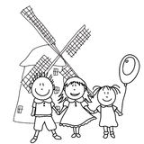 Happy kids and wind mill Stock Photography