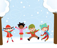 Happy kids in winter Stock Images