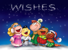 Happy kids-WISHES!. Some happy children from different countries are singing in the night at Christmas. In the stars you can read: WISHES Stock Photos