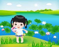 Happy Kids1. Cartoon character little child keep flower in a beautiful nature Vector Illustration