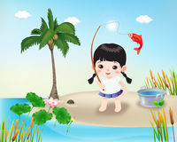 Happy Kids2. Cartoon character happy little girl showing a fishing he just caught Royalty Free Illustration