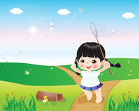 Happy Kids3. Cartoon character illustration of dragonfly and kids in a beautiful nature Stock Illustration