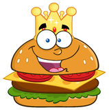 Happy King Hamburger Cartoon Character With Gold Crown Royalty Free Stock Photography