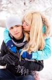 Happy kissing couple Stock Photography