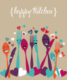 Happy kitchen silverware cartoon set Stock Image