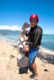 Happy kiter. Young man after kite surfing session on Maui, Hawaii Stock Image