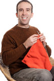 Happy Knitting Man Royalty Free Stock Photography