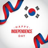 Happy Korea Republic Independent Day Vector Template Design Illustration. Background white isolated beautiful independence color abstract red black decoration stock illustration