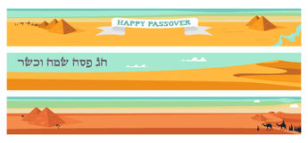 Happy and kosher Passover in Hebrew, Jewish holiday card template vector illustration