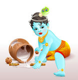 Happy Krishna Janmashtami. Blue boy god broke pot with yogurt Stock Image