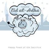Happy Kurban Bayram card. Kurban-bairam Festive card. Curly lamb against the background of clouds and Muslim symbols stock illustration