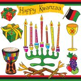 Happy Kwanzaa clip art and icons Royalty Free Stock Photos