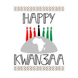 Happy Kwanzaa decorative greeting card. The celebration honors African heritage in African-American culture. Winter holidays. December 26th Royalty Free Stock Image