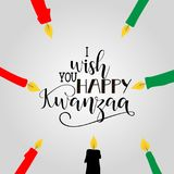 Happy Kwanzaa decorative greeting card. The celebration honors African heritage in African-American culture. Winter holidays. December 26th Royalty Free Stock Photo