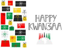 Happy Kwanzaa decorative greeting card. The celebration honors African heritage in African-American culture. Winter holidays Royalty Free Stock Photography