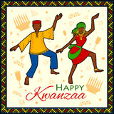 Happy Kwanzaa greetings for celebration of African American holiday festival  harvest. Illustration of Happy Kwanzaa greetings for celebration of African Royalty Free Stock Images