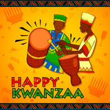 Happy Kwanzaa greetings for celebration of African American holiday festival  harvest Royalty Free Stock Image
