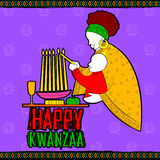 Happy Kwanzaa greetings for celebration of African American holiday festival  harvest Royalty Free Stock Photography